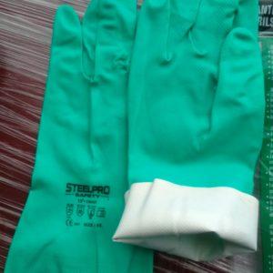 """Guante Nitrilo Verde STEELPRO CORTO 13"""" CALIBRE 15 MM"""
